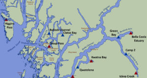 A map of research sites on the central coast.