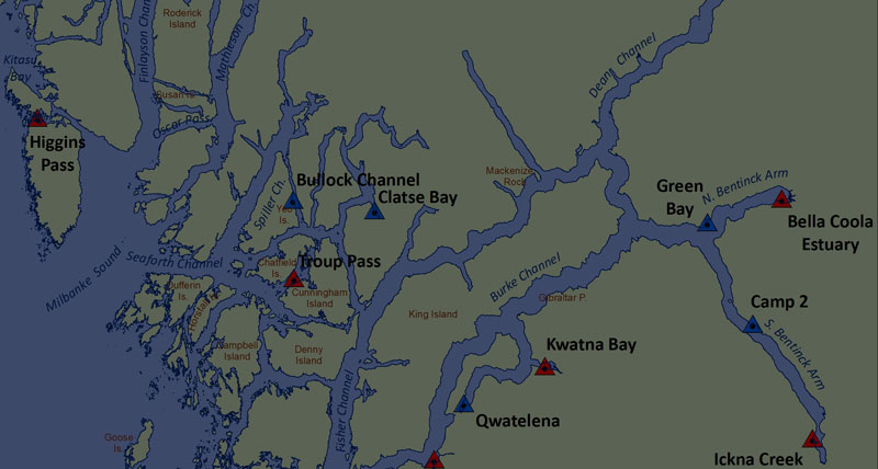 Partial map of research sites on the central coast.