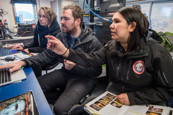 right to left - Heiltsuk's Desiree Lawson and CCIRA's Science Technician Tristan Blaine