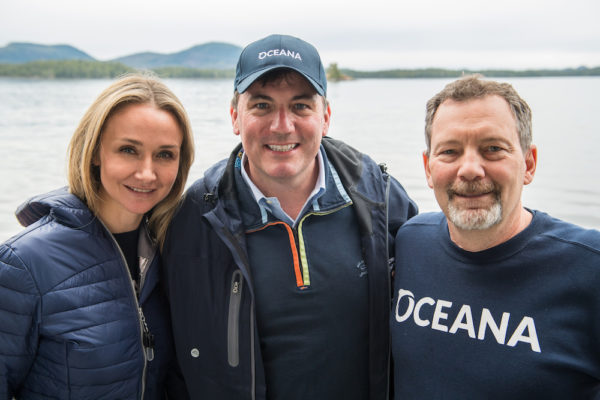 (left to right) Oceana Canada Science Advisor Alexandra Cousteau, DFO Minister Dominic LeBlanc & Oceana Canada Science Director Bob Rangeley on board the vessel Vector