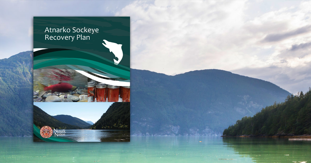Atnarko Sockeye Recovery Plan report title page on an image of lake and mountain.